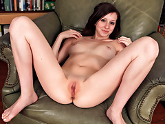 Fresh faced model strips her curvy body naked and fucks her wet pussy with a dildo while a vibrator penetrates her tight little assvideo