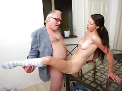 The way she puts her tricky old teacher's cock in her mouth you can tell she's never sucked one before. It isn't long before her teacher is showing her how to go about it however; what a nice guy!video