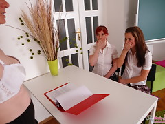Gloria and her sexy friend are brought into the classroom before their teacher. Their teacher wants to show these two beautiful women some fun and some lesbian times.video