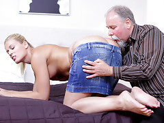 Elena can't believe how good this old man is at having sex. He licked her pussy so good she just has to suck his cock before she lets him hammer her wet and anxious twat! video