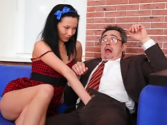 Kristna s a young student who needs to get ahead. She will get naked and suck her teachers cock and take the whole thing for a better grade in the class.video