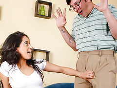 Hot nympho Latina teen pounces on her nerd-like professor !video