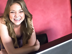 This super cute blonde teen talks in this behind the scene !video