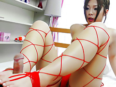 hot milf,mini bikini,fishnet stockings,cock sucking,footjob,body licking,hand work,cumshot,asianvideo