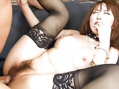 Sayaka Tsuzi in black thigh highs finds her pussy filled with a hard dick while she sits in a chair backwardsvideo