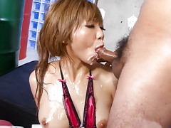 Oiled up Hazuki Rui gobbles dick after dick her cheeks filled with hot jizz.video