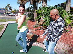 Enticing naughty girl Nikki Lavay sucks and fucks a lucky dudes cock after she gets beaten in a golf gamevideo