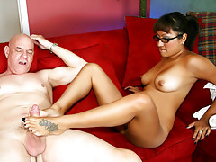 Tight pussy latina girl wearing eye glasses Jasmen Lopez rides the hard cock of her boss on the red sofavideo