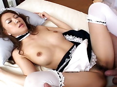 Yuka Koizumi pleases her man while licking and sucking his hard cock. She sucks his cock and balls into her mouth and gets him very hard. Dressed as a fresh maid, she is then on her back being fucked hard by him and rides him hard until he cums good.video