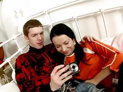 Pigtailed brunette teen girlfriend Flavia sucking a monster cock in bedroomvideo